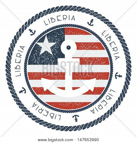 Nautical Travel Stamp With Liberia Flag And Anchor. Marine Rubber Stamp, With Round Rope Border And
