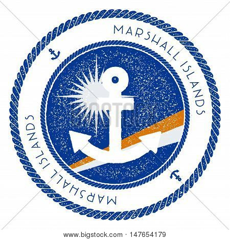 Nautical Travel Stamp With Marshall Islands Flag And Anchor. Marine Rubber Stamp, With Round Rope Bo