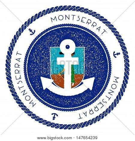 Nautical Travel Stamp With Montserrat Flag And Anchor. Marine Rubber Stamp, With Round Rope Border A