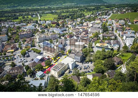Aerial photo of Vaduz city in Liechtenstein