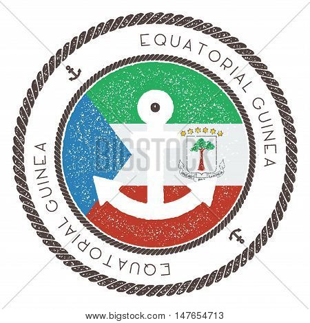 Nautical Travel Stamp With Equatorial Guinea Flag And Anchor. Marine Rubber Stamp, With Round Rope B