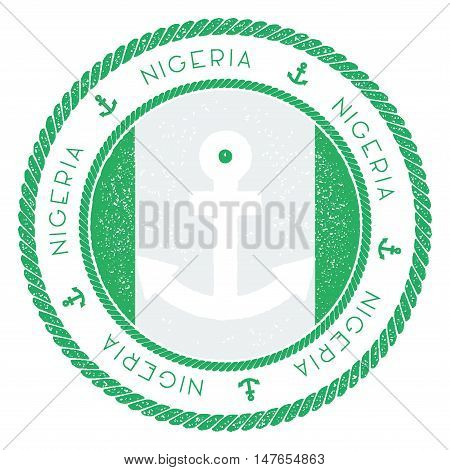 Nautical Travel Stamp With Nigeria Flag And Anchor. Marine Rubber Stamp, With Round Rope Border And