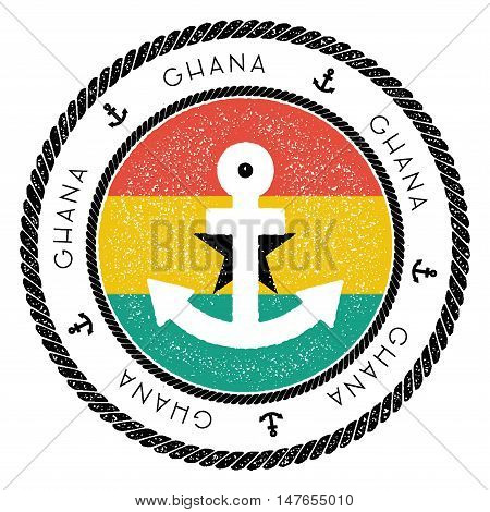 Nautical Travel Stamp With Ghana Flag And Anchor. Marine Rubber Stamp, With Round Rope Border And An