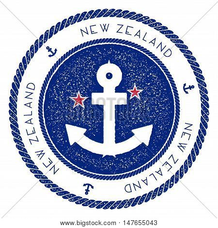 Nautical Travel Stamp With New Zealand Flag And Anchor. Marine Rubber Stamp, With Round Rope Border
