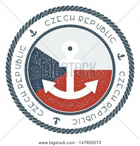 Nautical Travel Stamp With Czech Republic Flag And Anchor. Marine Rubber Stamp, With Round Rope Bord