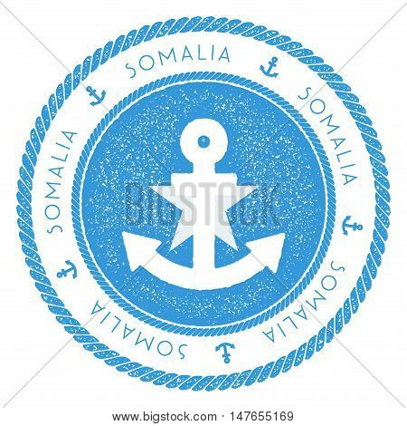 Nautical Travel Stamp With Somalia Flag And Anchor. Marine Rubber Stamp, With Round Rope Border And