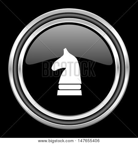 chess horse silver chrome metallic round web icon on black background