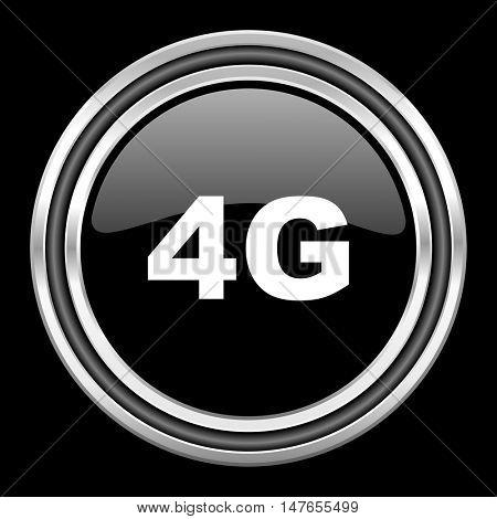 4g silver chrome metallic round web icon on black background