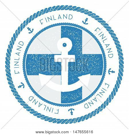 Nautical Travel Stamp With Finland Flag And Anchor. Marine Rubber Stamp, With Round Rope Border And