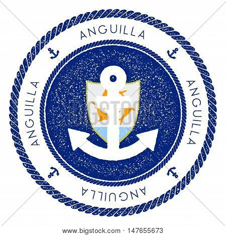 Nautical Travel Stamp With Anguilla Flag And Anchor. Marine Rubber Stamp, With Round Rope Border And