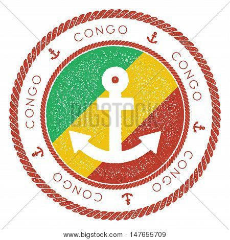 Nautical Travel Stamp With Congo Flag And Anchor. Marine Rubber Stamp, With Round Rope Border And An