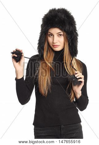 Woman On White Background Wearing Ear Flap Hat