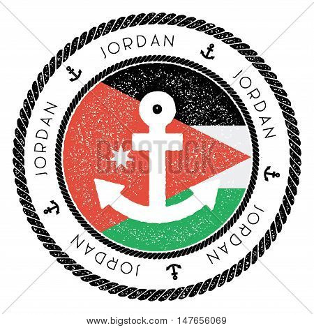 Nautical Travel Stamp With Jordan Flag And Anchor. Marine Rubber Stamp, With Round Rope Border And A