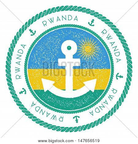 Nautical Travel Stamp With Rwanda Flag And Anchor. Marine Rubber Stamp, With Round Rope Border And A