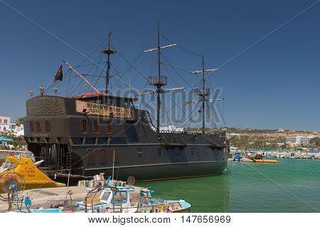 May 29 2014: Photo of bay with the ship Black Pearl. Aya Napa. Cyprus.