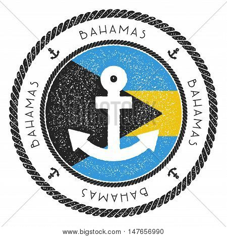 Nautical Travel Stamp With Bahamas Flag And Anchor. Marine Rubber Stamp, With Round Rope Border And