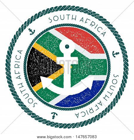 Nautical Travel Stamp With South Africa Flag And Anchor. Marine Rubber Stamp, With Round Rope Border