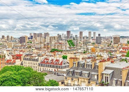 Beautiful Panoramic View Of Paris From The Roof Of The Pantheon. View Of The District Of La Defense.