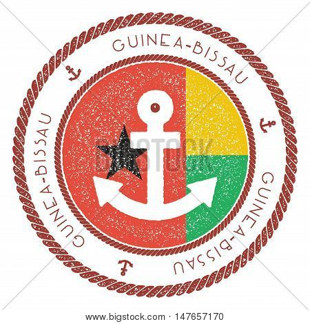 Nautical Travel Stamp With Guinea-bissau Flag And Anchor. Marine Rubber Stamp, With Round Rope Borde