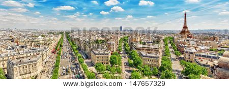 Beautiful Panoramic View Of Paris From The Roof Of The Triumphal Arch. Champs Elysees And The Eiffel