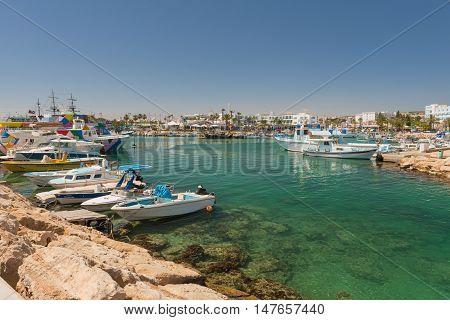 May 30 2014: Photo of Beach with boats. Aya Napal. Cyprus.