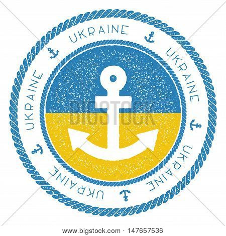 Nautical Travel Stamp With Ukraine Flag And Anchor. Marine Rubber Stamp, With Round Rope Border And