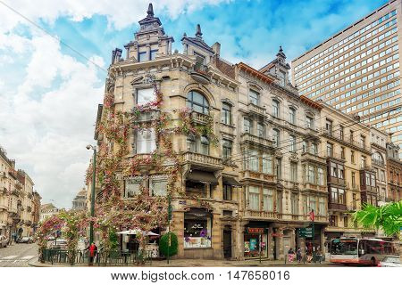 Brussels, Belgium - July 07, 2016 : Entangled Flowers House In The Center Of The Bulgarian Capital B