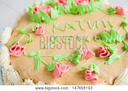 Cake Decorated With Roses, Leaves, Swirls And  Inscription, Catherine Day