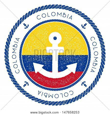 Nautical Travel Stamp With Colombia Flag And Anchor. Marine Rubber Stamp, With Round Rope Border And