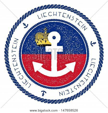 Nautical Travel Stamp With Liechtenstein Flag And Anchor. Marine Rubber Stamp, With Round Rope Borde