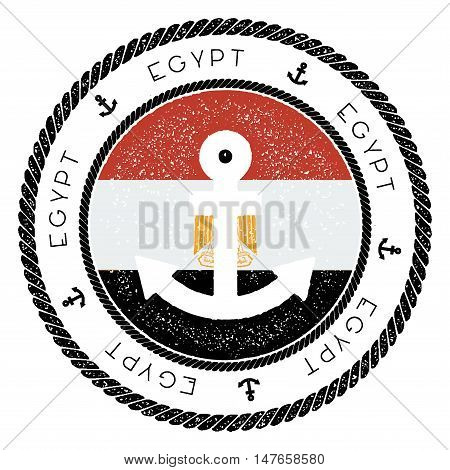 Nautical Travel Stamp With Egypt Flag And Anchor. Marine Rubber Stamp, With Round Rope Border And An