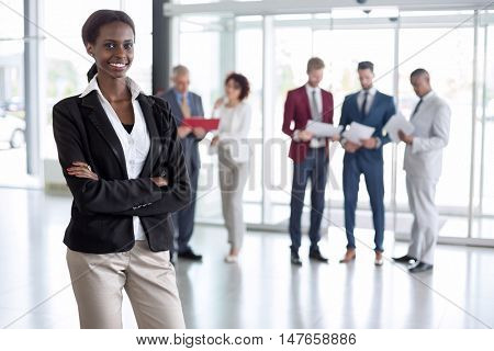 Portrait of black African business woman smiling