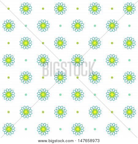 Chamomile seamless pattern, Simple floral, Abstract flower design. Daisy thin line art icons on a white background