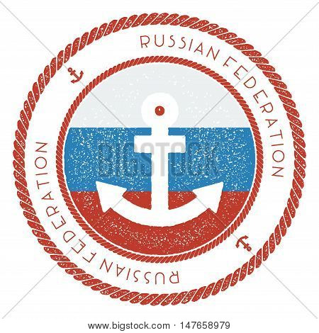 Nautical Travel Stamp With Russian Federation Flag And Anchor. Marine Rubber Stamp, With Round Rope