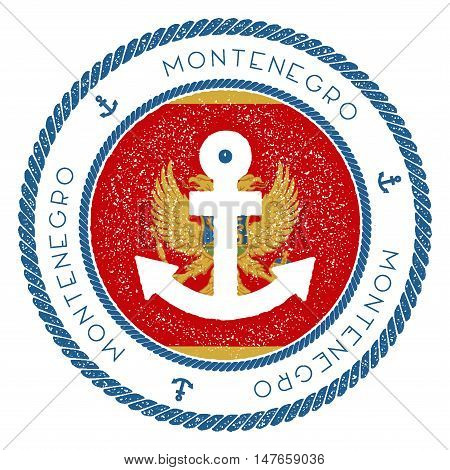 Nautical Travel Stamp With Montenegro Flag And Anchor. Marine Rubber Stamp, With Round Rope Border A