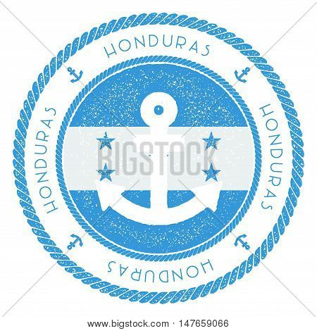 Nautical Travel Stamp With Honduras Flag And Anchor. Marine Rubber Stamp, With Round Rope Border And