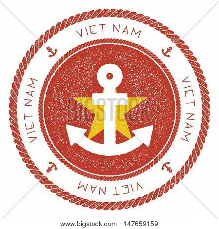 Nautical Travel Stamp With Vietnam Flag And Anchor. Marine Rubber Stamp, With Round Rope Border And