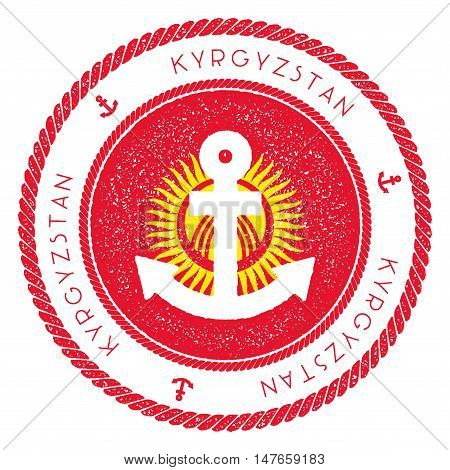 Nautical Travel Stamp With Kyrgyzstan Flag And Anchor. Marine Rubber Stamp, With Round Rope Border A