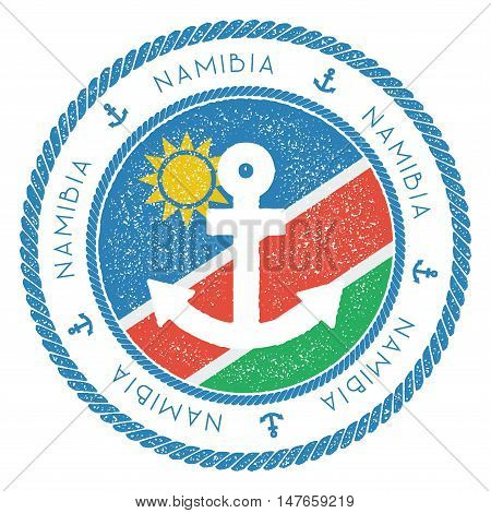 Nautical Travel Stamp With Namibia Flag And Anchor. Marine Rubber Stamp, With Round Rope Border And