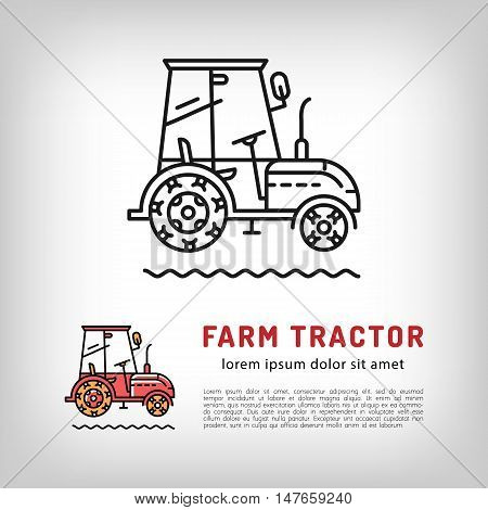 Farm tractor cab icon in a thin line art style, Isolated vector tractor logo, Farmers market logotype