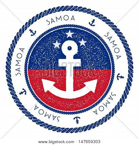 Nautical Travel Stamp With Samoa Flag And Anchor. Marine Rubber Stamp, With Round Rope Border And An