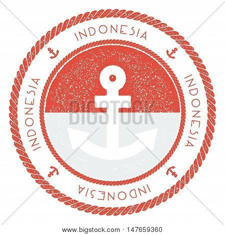 Nautical Travel Stamp With Indonesia Flag And Anchor. Marine Rubber Stamp, With Round Rope Border An