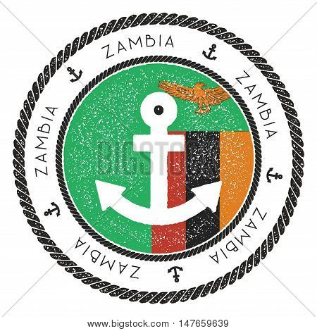 Nautical Travel Stamp With Zambia Flag And Anchor. Marine Rubber Stamp, With Round Rope Border And A