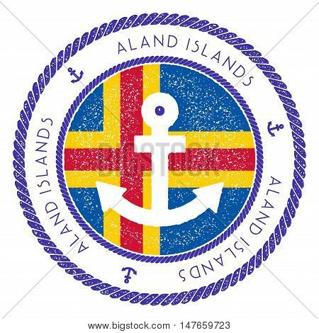 Nautical Travel Stamp With Aland Islands Flag And Anchor. Marine Rubber Stamp, With Round Rope Borde