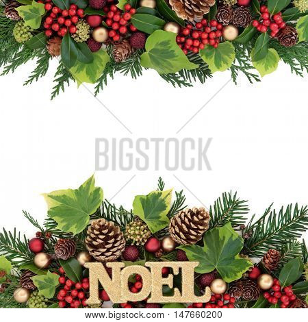 Christmas abstract background border with noel glitter sign, red and gold bauble decorations, holly, ivy, pine cones and fir leaf sprigs over white with copy space.