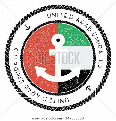 Nautical Travel Stamp With United Arab Emirates Flag And Anchor. Marine Rubber Stamp, With Round Rop