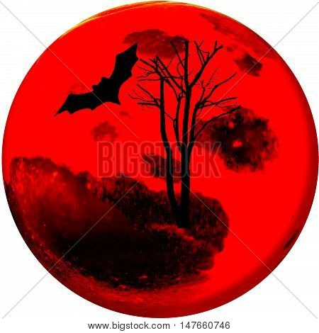 In Halloween night The moon fully bloods of victims abstract picture for your background and design.