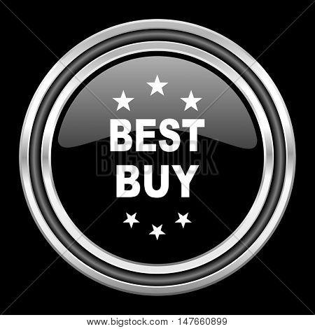best buy silver chrome metallic round web icon on black background