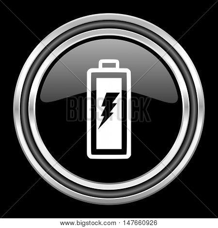battery silver chrome metallic round web icon on black background