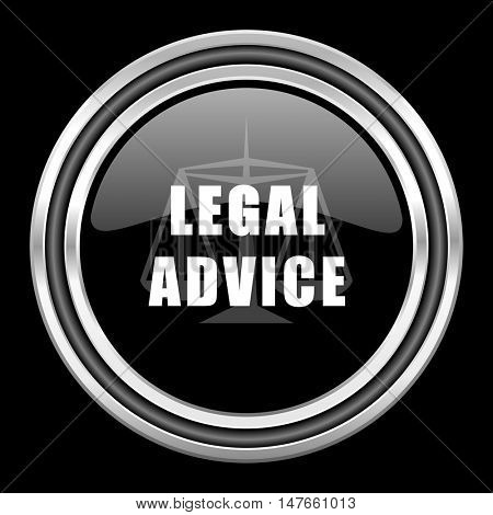 legal advice silver chrome metallic round web icon on black background
